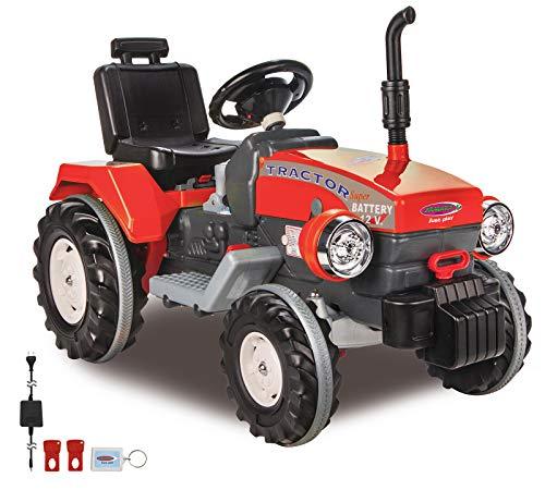 JAMARA 460319 - Ride-on Traktor Power Drag 12V - 2-Gang, Gaspedal, Bremse, 2 leistungsstarke Antriebsmotoren, leistungsstarker Akku für lange Fahrzeit, Speed-Modus, Sound, verstellbarer Sitz, rot