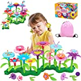 Flyingseeds Flower Garden Building Toys, Toys for Girls Ages 3 4 5 6 7 Year Old, Educational Stem Activities Stacking Game, Best Toddler Preschool Gifts