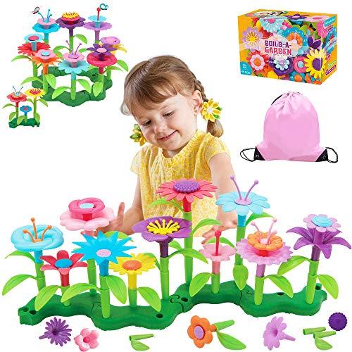 Flyingseeds Juguetes de construcción de jardín de flores, juguetes para niñas de 3 4 5 6 7 años de edad, actividades educativas de tallo juego de apilamiento, mejores regalos preescolares para niños
