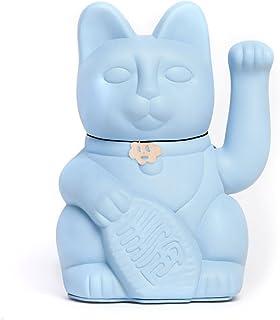 Gatto Fortunato Cinese. Gatto portofortuno. Lucky cat. Maneki Neko. COLORE AZURRO CHIARO 10x6x15cm
