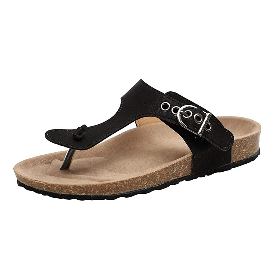 SMALLE_Shoes T-Strap Thong Sandals Women,SMALLE??? Women Buckle Slip On Flip-Flops Beach Casual Platform Footbed Slippers