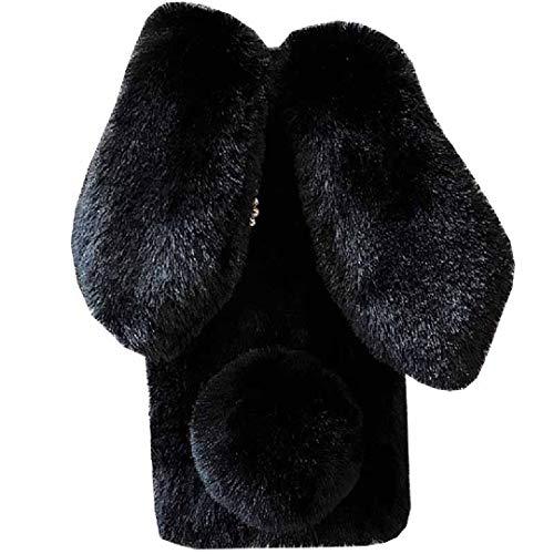Funda para Lenovo K8 Art hecha a mano, esponjosa de lana de conejo Villi linda cola de bola de invierno cálida cubierta suave, hermosa luz de oído grande delgada funda para teléfono Lenovo K8 negro