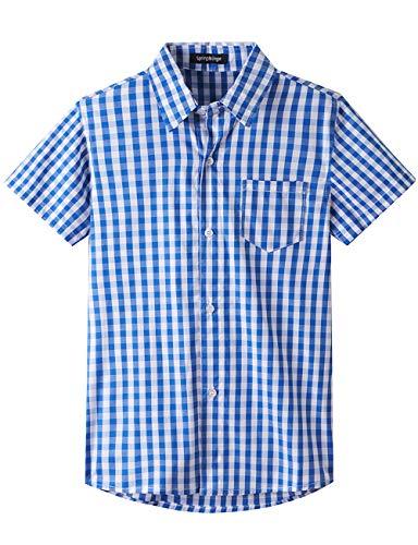 Spring&Gege Jungen Kurzarm Popeline Button Down Shirt Baumwolle Plaid Uniform Formelle Kleidung Hemden, Königsblau Gingham, 164 170