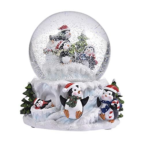 Palline di Neve Natalizie in Cristallo Musicale, Carillon con Palla di Neve Luminosa in Resina, Miglior Regalo per San Valen-Tino Natale Festa della Mamma