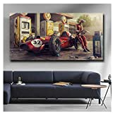 Kissherely Vintage Car Poster Classic Racing F1 Race Car Artwork Wall Art Picture Print Canvas Painting for Home Living Room Decor-60X120cm Frameless