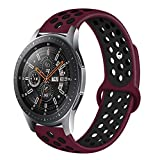 Compatible Samsung Gear S3 Frontier/Samsung Galaxy Watch 46mm Bands,22mm Silicone Breathable Replacement Strap Quick-Release Pin for Gear S3 Frontier Smart Watch (Wine red-Black)