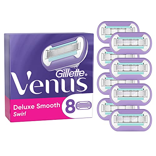 Gillette Venus Deluxe Smooth Swirl Rasierklingen Damen, 8 Ersatzklingen für Damenrasierer mit 5-fach Klinge