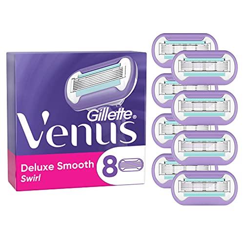 Gillette Venus Deluxe Smooth Swirl Rasierklingen Damen, 8 Ersatzklingen für Damenrasierer mit...