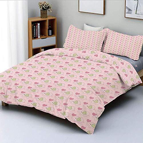 Qoqon Bettbezug-Set, Elefanten-Cartoon-Muster Herzform-Patches Kindliches kindliches PatchworkDekoratives 3-teiliges Bettwäscheset mit 2 Kissenbezügen, Kinder und Erwachsene