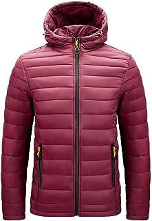 Lightweight Casual Hooded Down Puffer Waterproof Windproof Rain Jacket Winter Warm Snow Coat M - XXXL,Red,XL
