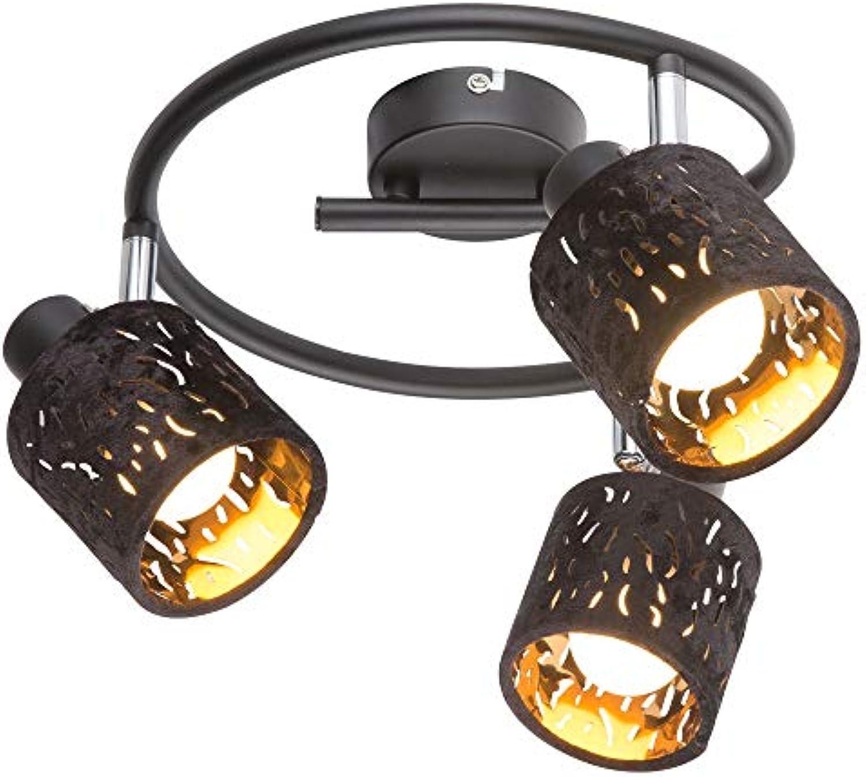 Rondell Leuchte Decken Strahler verstellbar Samt Lampe schwarz Gold im Set inkl. LED Leuchtmittel