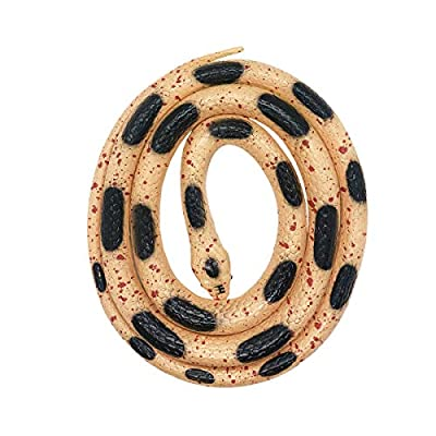 Yitaocity 1.3 m Rubber Snake Toy Simulation Snake for Kids,Snake for Prank Props Trick Snake as April Fool's Day Gift or Party Decoration (Black Dot)