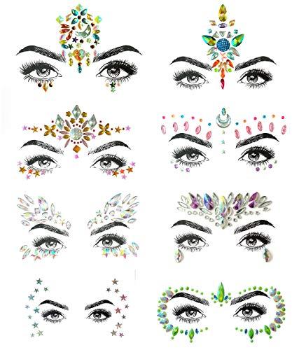 SHINEYES 8 Stück Gesicht Körper Temporäre Tattoos, Gesichts Aufkleber Juwelen, Gesicht Glitzer Edelsteine Kristall für Rave Karneval Maskerade Musik Festival Geburtstags Party