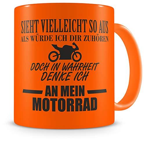 Samunshi® Tasse mit Spruch Ich denke an mein Motorrad Geschenk für Männer Kaffeebecher Kaffeepott neon orange