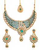 Touchstone Indian Bollywood traditional and modern Kundan polki look Rhinestone grand bridal designer jewelry necklace set for women in gold tone