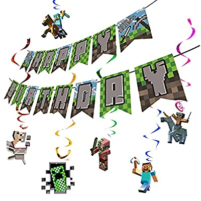Pixel Style Game Party Theme Supplies Birthday Decorations,1 Happy Birthday Banner,6 Hanging Whirlpools Cards ,For Kids Boys and Girls from