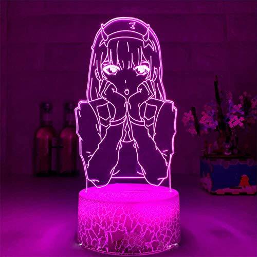 Lámpara de noche 3D cero dos regalos, con 16 cambios de color y control remoto, regalos para niños a partir de 3 4 5 6 años