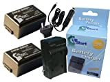2 Pack - Replacement for Panasonic Lumix DMC-FZ70 Battery + Charger with Car & EU Adapters - Compatible with Panasonic DMW-BMB9 Digital Camera Battery and Charger (1000mAh 7.4V Lithium-Ion)