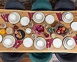 Geschirrset 24-teilig aus Porzellan für 6 Personen | Tiefe Suppenteller, Flache Essteller, Dessertteller und Schüsseln | Hochwertiges modernes buntes Vintage Tafelservice Kombiservice | Creme braun - 8