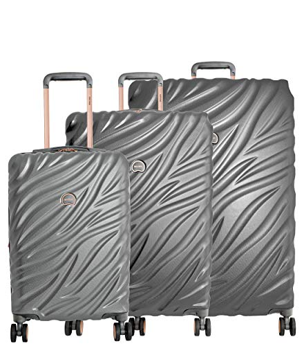 Delsey Alexis Lightweight Luggage Set 3 Piece, Double Wheel Hardshell Suitcases, Expandable Spinner Suitcase with TSA Lock and Carry On (Platinum/Rose Gold, 3-piece Set (21'/25'/29'))