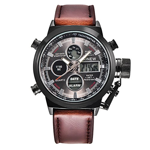 Gift Watch! Wensltd Men's Watch Wrist Dual Time LED Digital Analog Quartz Movt Steel Band (Coffee-2)