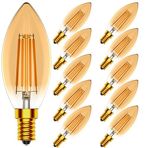 Tuoplyh Dimmerabile Lampadine Filamento a LED E14 4W equivalenti a 40W, 400 Lumen, Luce Bianco Caldo 2700 K, Forma a Candela, Vintage retrò, Confezione da 10 unità.