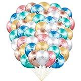 Feliz cumpleaños globos metálicos, 50 pcs 12 pulgadas brillante globo metálico plata de látex de pallo de látex Globos de feliz cumpleaños