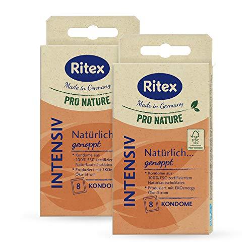 Ritex Pro Nature Intensiv Kondome - natürlich genoppt - nachhaltig, fair, 16 Stück, Made in Germany