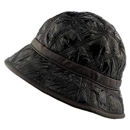Charmoni – Cappello da pioggia, in vinile o sintetico cerato impermeabile, trapuntato, taglio vento leggero e pieghevole, taglia unica