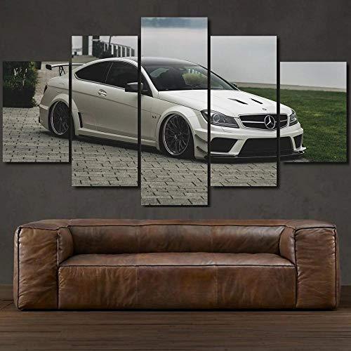 45Tdfc 5 Piezas Arte Pared Lienzo Mercedes C63 Amg Coche de Lujo Blanco HD Pintura Cartel ImpresióN - Wall Lona Paintings - Escena Sala Estar Oficina DecoracióN