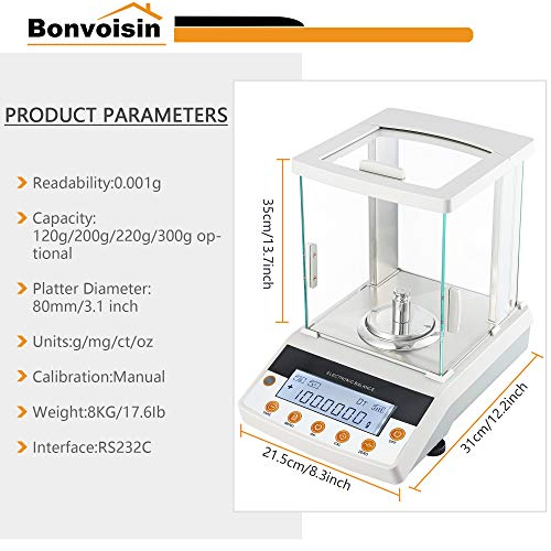 Bonvoisin Digital Analytical Balance 0.1mg High Precision Lab Scale CE Certificated Electronic Balance 0.0001g Scientific Laboratory Scale (120g, 0.1mg)