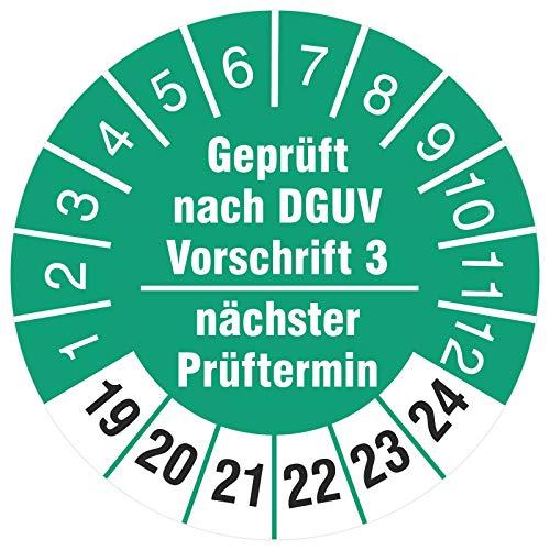 100 Stück Prüfplaketten 30 mm geprüft nach DGUV Vorschrift 3 nächster Prüftermin 2019-2024 Prüfetiketten Rollenware stark haftend