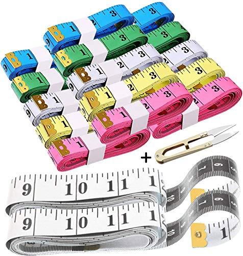 BITEFU 17 cintas métricas para el cuerpo, 200 cm y 150 cm, cinta métrica 2 en 1 cm + cinta métrica gruesa para cortar, herramienta de medición de contorno de vientre