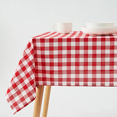 Mantel de Cuadro Vichy Rojo y Blanco de poliéster de 140x140 cm - LOLAhome
