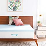 LINENSPA 3 Inch Gel Infused RV Queen Memory Foam Mattress Topper, Blue