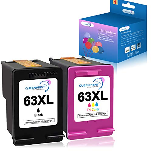 QUEENPRINT Remanufactured Ink Cartridge Replacement for HP 63XL 63 XL for HP OfficeJet 3830 Envy 4520 4512 Officejet 4650 5255 Deskjet 1112 3634 3639 3632 Printer (1 Black 1 Tri-Color)