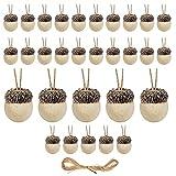 Ablerfly 2 Juegos de 30 Piezas de Adornos de Bellota de Fieltro de Lana, decoración rústica de Granja con Cuerda de 32.8 pies para el otoño, acción de Gracias, árbol de Navidad