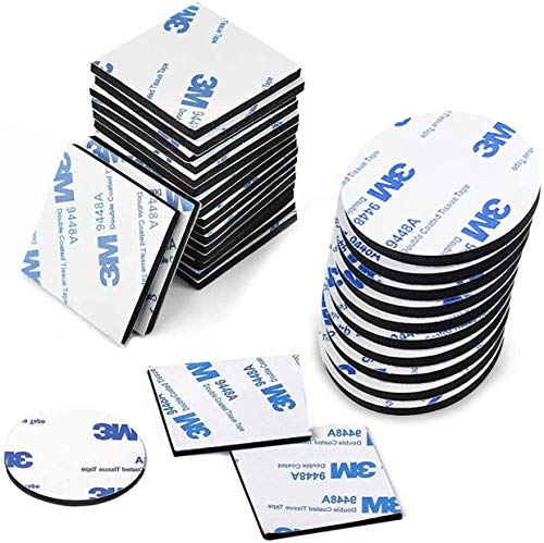 FEIGO Doppelseitige, Selbstklebende Pads, Schaumband 20 Stück Doppelt Selbstklebend Schaumstoff Quadrate/RundeKlebe-Montage-Pads für Wände und Boden, Tür, Kunststoff, Gläser, Metalle (2x2,5cm/3cm)