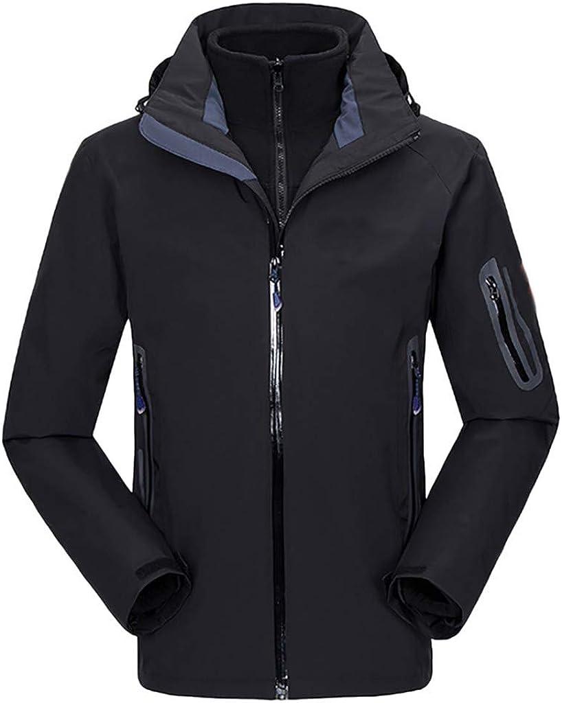 HHei_K Comfortable Walking Sweatshirts Hat Shell Windproof Waterproof Shell Tops Soft Clothing Coat Black