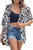 Womens Kimono Cardigan Beach Cover Up Floral Chiffon Loose Capes (White Leopard, L)