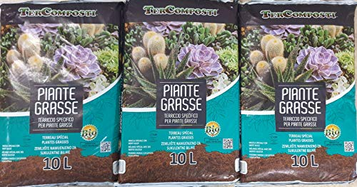 3 x Confezione Multipack Terriccio per Piante grasse. Terriccio Premium arricchito con sabbie silicee