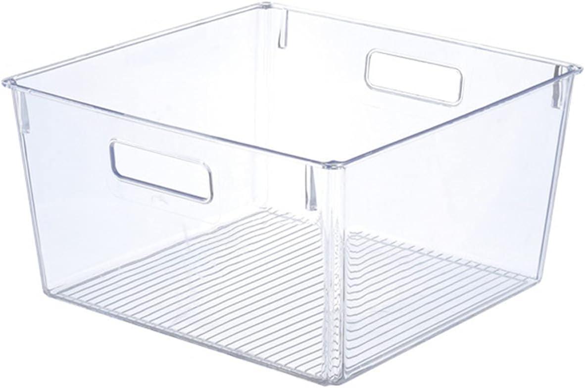 Gabinete, Cocina Binz Cocina Contenedor de almacenamiento, Caja de almacenamiento de plástico grande para refrigerador, congelador o despensa, transparente, sin tapa,21cm