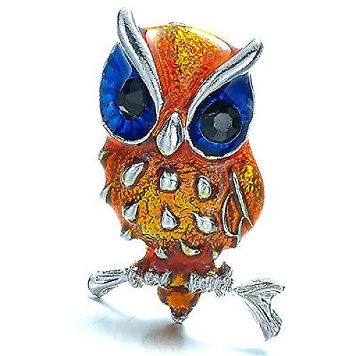 COLORFULTEA Búho Pájaro Animal Broche Alfileres Lindo Águila Pequeña Broche De Diamantes De Imitación Ojos Mujeres Broches De Cristal Joyería