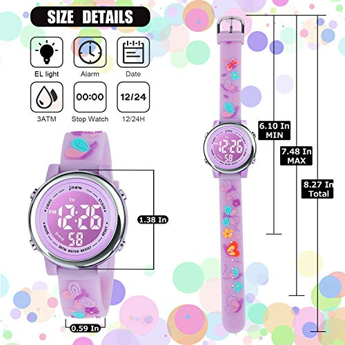 Kids Watch 3D Cartoon Toddler Wrist Digital Watch Waterproof 7 Color Lights with Alarm Stopwatch for 3-10 Year Boys Girls Little Child Butterfly