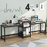 Tribesigns 96.9' Double Computer Desk with Printer Shelf, Extra Long Two Person Desk Workstation with Storage Shelves, Large Office Desk Study Writing Table for Home Office, Vintage Walnut