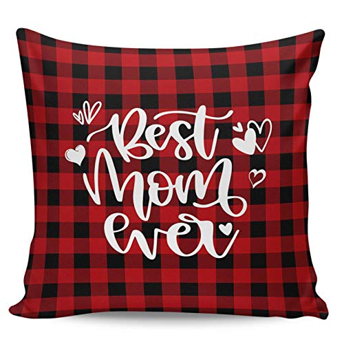 Fundas de Almohada para el día de la Madre de 45 cm x 45 cm, Fundas Decorativas para sofá, decoración del hogar, Regalo, cumpleaños, Boda, decoración del Banquete - Best MOM Ever Red Plaid Heart
