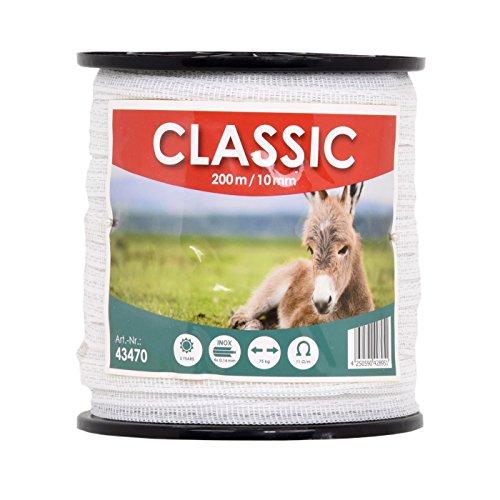 VOSS.farming Ruban de clôture électrique Classic 200 m 10 mm conducteur 4 x 0,16 mm Acier Inoxydable Fil câble clôture Cheval chèvre Mouton Poney