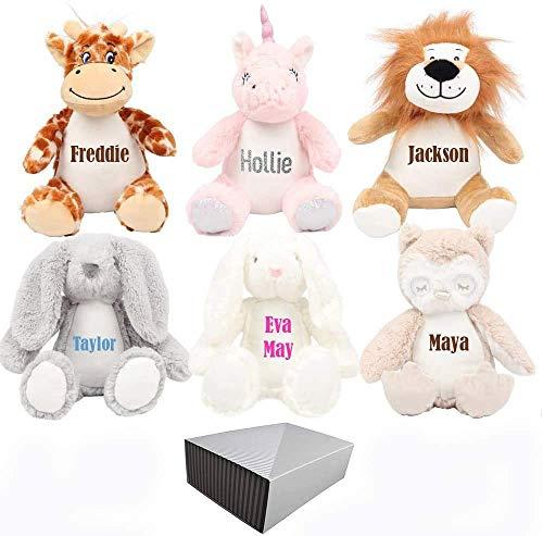 Hoolaroo Personalised Teddy Bear Bunny Unicorn Teddies, Ideal Easter toys For Babies Flower Girl bunny gifts (White Bunny)