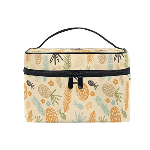 Makeup Bag Pineapple Flower Travel Cosmetic Bags Organizer Train Case Toiletry Make Up Pouch
