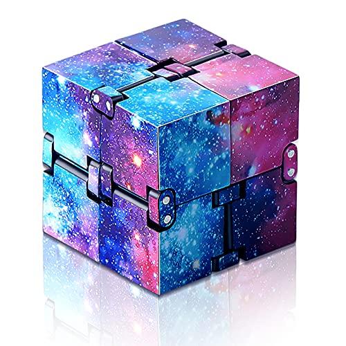 Skylety Juguete de Cubo Infinito Mágico Bloques Fidget, Mini Juguetes Sensoriales de Escritorio Herramienta para Aliviar Estrés Suministro de Juego para Austismo TDAH (Espacio Galaxia Arcoíris)